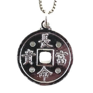 white gold on silver pendant round fortune & luck